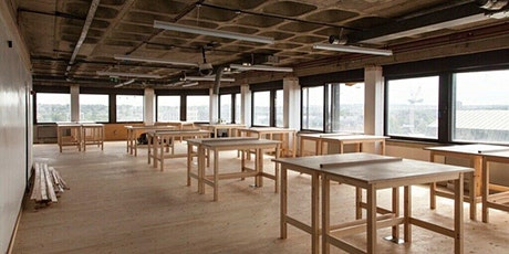 Desks in Brixton fashion and textiles studio workspace tickets
