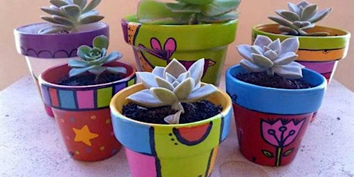 School Holiday Teracotta Pot Painting + Succulent