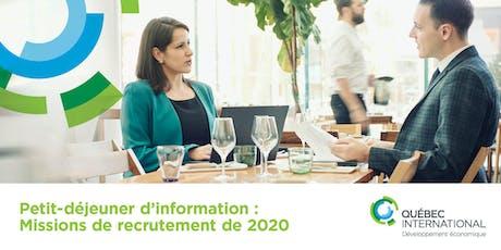 Petit-déjeuner d'information sur les missions de recrutement de 2020 billets