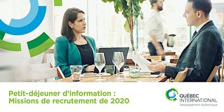 Petit-déjeuner d'information sur les missions de recrutement de 2020 tickets