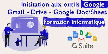 Initiation aux outils Google : Gmail, Drive, Google Doc/Sheet. (Soirée - 1h30) billets