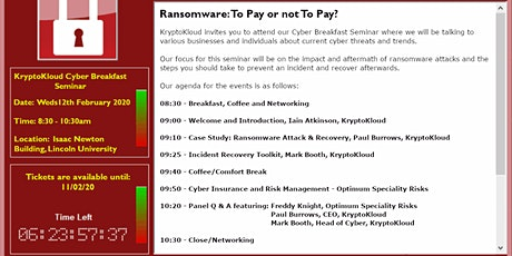 KryptoKloud's Cyber Breakfast Seminar - Ransomware: To Pay or not To Pay? tickets
