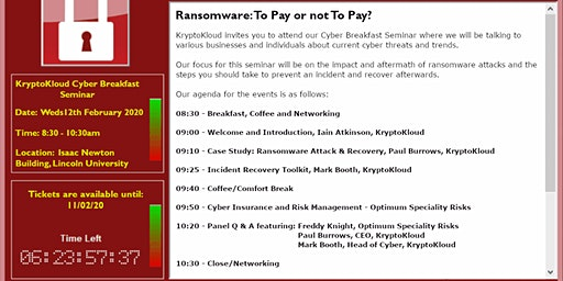 KryptoKloud's Cyber Breakfast Seminar - Ransomware: To Pay or not To Pay?