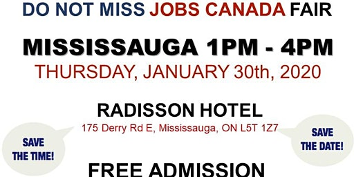 Mississauga Job Fair -  January 30th, 2020