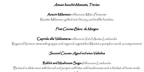 Northern Italian menu tickets