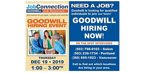 Goodwill is Hiring - The Dalles - 12/19/19
