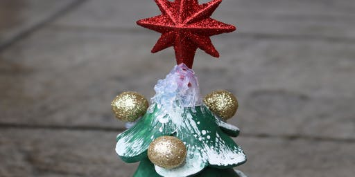 Painting a Clay Christmas Tree Family Event for Adults and Kids