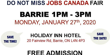 Barrie Job Fair – January 27th,2020 tickets