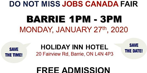 Barrie Job Fair – January 27th,2020