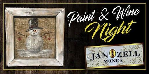 Jan Zell Wines Paint Event Snowman burlap