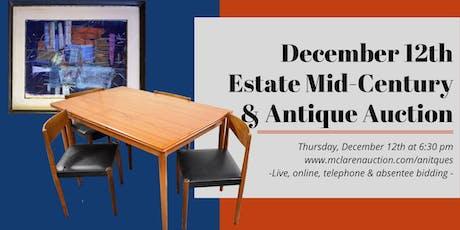 December 12thEstate Mid-Century & Antique Auction tickets