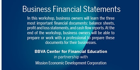 Business Financial Statements with BBVA Center for Financial Education tickets