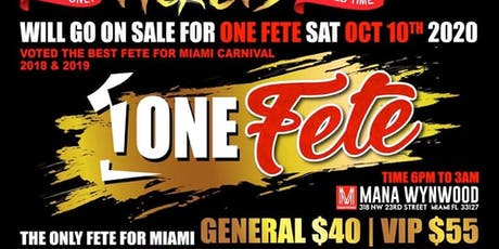 ONE FETE 10-10-2020 tickets