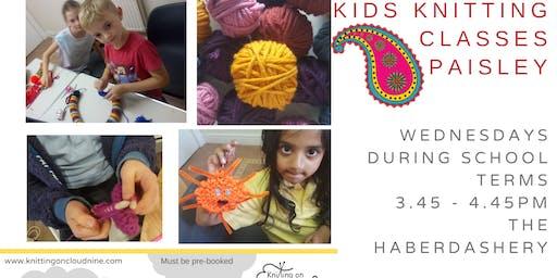 Kids Knitting in Paisley