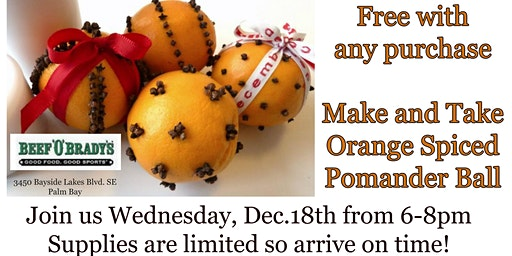 Free DIY Orange Spiced Pomander with any Beef O' Brady's purchase!