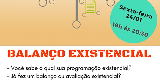 "Palestra Gratuita: ""Balanço Existencial."""