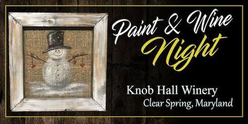 Knob Hall Winery Paint Event burlap snowman