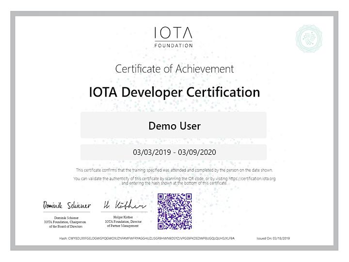 IOTA Developer Certification image