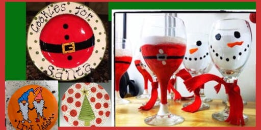 DIY Christmas Plates and Wine Glass Painting - Any 2 - Including a Martini!