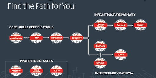 Certificate CompTIA ITF+, A+, Network+ o Security+, Ethical Hacking 1 año