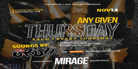 Any Given Thursday  @ Mirage Lounge 12.12.19 tickets
