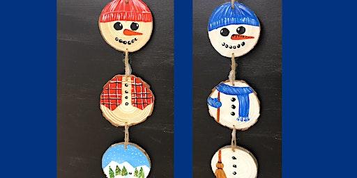 "Adult Open Paint (18yrs+) Mini Wood Slice ""Spinning Snowman"""