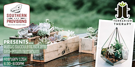 Rustic Succulent Box and Geo-Prism Terrarium at Southern Provisions tickets