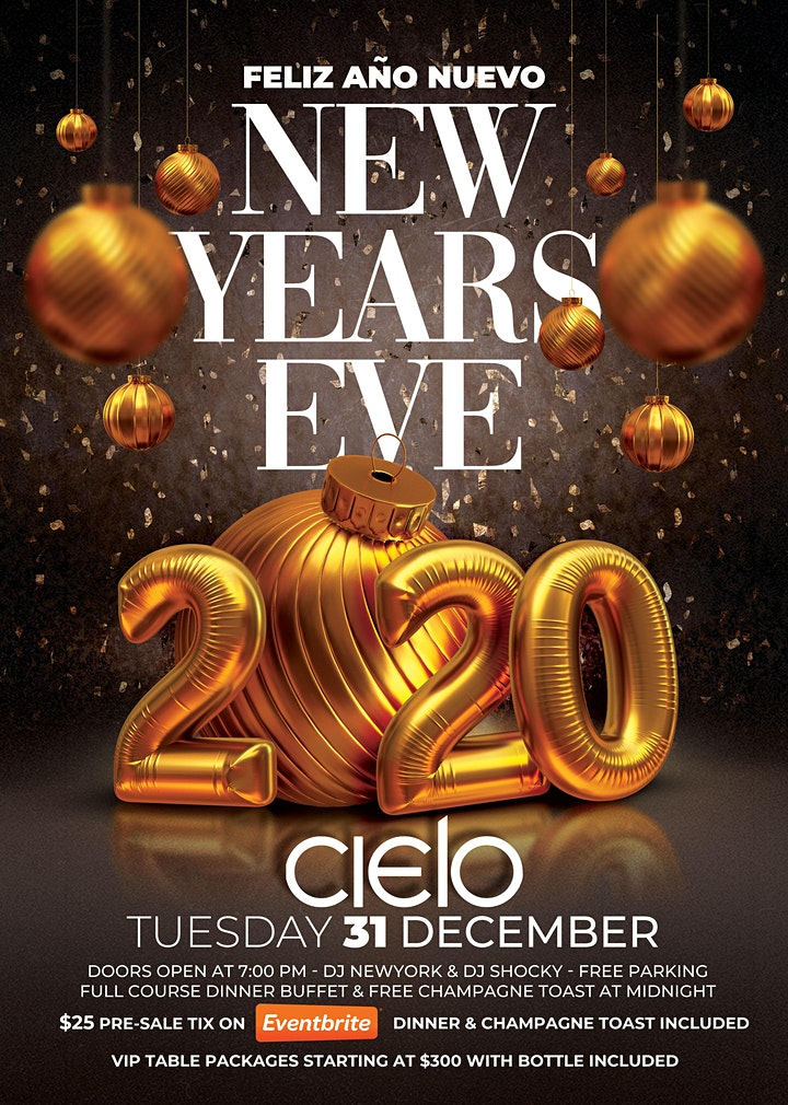 Feliz Año Nuevo - NYE 2020 at Cielo Latin Bar image