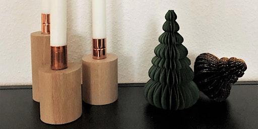 Gratis-DIY-Workshop: Rundholz-Kupfer-Kerzenständer