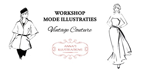 Workshop mode illustraties - thema Vintage Couture tickets
