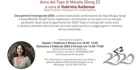 SEMINARIO DI FENG SHUI E ASTROLOGIA CINESE 2020 biglietti