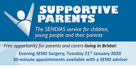 Bristol Evening SEND Surgery.  Tuesday 21st Jan 2020.  6.00 - 8.00pm tickets