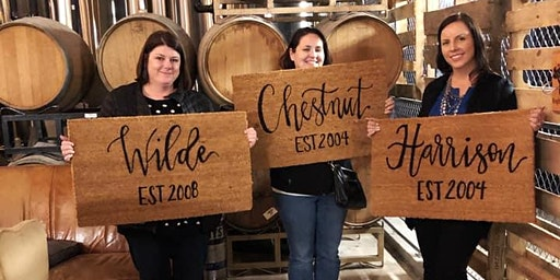 Hand Lettered Welcome Mats at Lost Ark Distilling