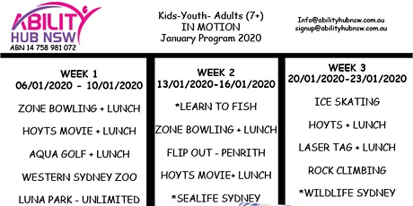 January Holiday Program 2020 Kids, Youth , Adults - IN MOTION tickets