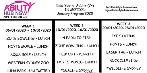 January Holiday Program 2020 Kids, Youth , Adults - IN MOTION