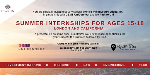 GEMS UniConnect & InvestIN present Summer Internships For Ages 15-18