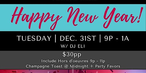 New Years Eve Party at ChefScape with DJ ELI
