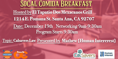 End of the Year SoCal Comida Members and Affiliates Breakfast tickets