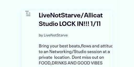 LiveNotStarve/Allicat Studio LOCK IN!!! 1/11