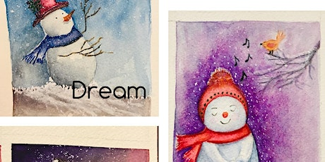 Watercolor Painting for Christmas Cards tickets