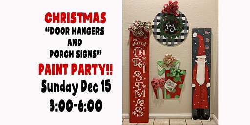 CHRISTMAS DOOR HANGERS AND PORCH SIGNS PAINT PARTY