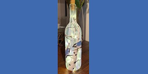 Chickadee Wine Bottle with Lights