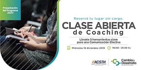 Clase Abierta de Coaching 18 de Diciembre 19 hs entradas