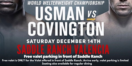 UFC 245 Viewing Party with Free Valet @ Saddle Ranch Valencia tickets
