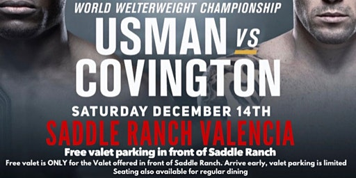 UFC 245 Viewing Party with Free Valet @ Saddle Ranch Valencia