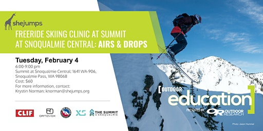 WA SheJumps Freeride Skiing Clinic at Snoqualmie Central: Airs & Drops