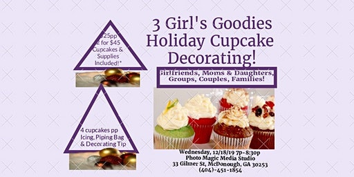 Cupcake Decorating for the Holidays with 3 Girl's Goodies