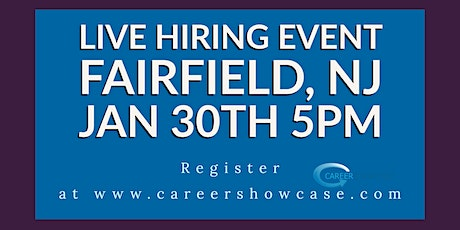 NEXT THURSDAY Jan 30 New career Jan 30 Fairfield Doubletree by Hilton @5pm. Many New Career Opportunities. tickets