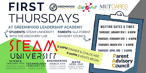 First Thursdays at Greenwood Leadership Academy