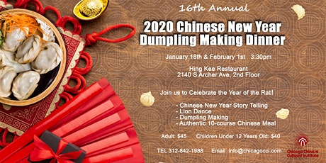 2020 Chinese New Year Dumpling Making Dinner tickets